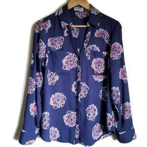 express the portofino shirt navy blue print size M